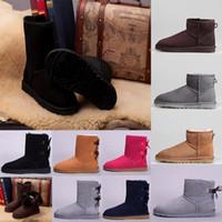 botas de rodilla para mujer al por mayor-UGG Boots para mujer Short Mini Australia Classic Rodilla Tall Botas de nieve de invierno Diseñador Bailey Bow Tobillo Bowtie Negro Gris castaño rojo 36-41