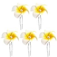 pasadores en forma de u al por mayor-5 Unids en forma de U Plumeria Flor 4.5 CM Barrette Pinza de Pelo Horquillas hawaianas para la boda de playa Verano Picnic Mar vacaciones