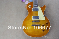 Wholesale guitar yellow tiger resale online - ne piece Neck Tiger Flamed Maple Standard Yellow Electric Guitar
