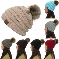 mulheres gorro venda por atacado-8colors Women Winter Knitted Beanie Faux Fur Cap Pom Ball Crochet Hats Knitted Hat Skully Warm Ski Trendy Soft Thick Caps LJJA823