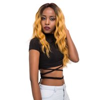 Wholesale wavy hand tied wigs resale online - 20 quot Ombre Yellow Color Long Wavy Hand Tied Synthetic Lace Front Wig Glueless Heat Resistant Fiber Hair Natural Hairline Wigs For Black Women