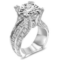 cuivre zircon platine achat en gros de-Vent luxe dame bague de mariage en cuivre placage platine set zircon imitation diamant bijoux en gros S18101607