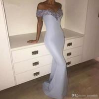 frauen lavendel kleid großhandel-Lavendel lila Pailletten Meerjungfrau Mantel Womens Prom Kleid bodenlangen off Schulter einfache bescheidene formale Maxi Kleider Custom Made