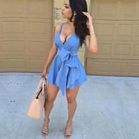 ingrosso vestito blu dal merletto del collo bianco stampato-vestidos Women Ladies Bodycon senza maniche Party Party Club Mini abito corto Sexy V-Neck Strap Bow Abito mini abito estivo