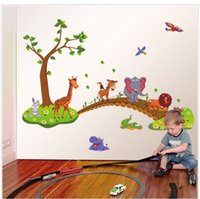 Wholesale jungle room decor for sale - Group buy Children wall stickers cartoon jungle animal rabbit elephant bridge bird creative wall decoration for kids living room decoration