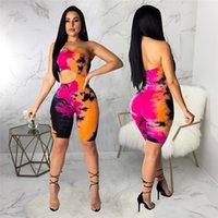 bodyswear para mulheres venda por atacado-Macacão Mulheres Macacão Skinny Sino Sem Mangas Bodysuits Lado Buraco Multi Cor Mini Macacão Super Sexy Clubwear Bodysuits Verão