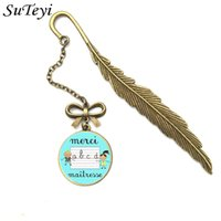 Wholesale vintage bookmark accessories for sale - Group buy SUTEYI New Creative Vintage Metal Feather Bookmark French Letter Merci Maitresse Glass Bookmark Clips Pendant Accessories