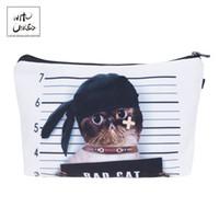 çanta kedi baskısı toptan satış-Umurunda Korsan kedi 3d baskı Kozmetik Organizatör Çanta Makyaj Çantaları bayanlar Seyahat Kadınlar Için Çanta Kese # 273662