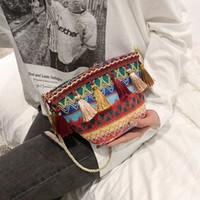 Wholesale cross bag for party resale online - Designer styles Ethnic style Weaving Tassel Shoulder Bag Handbag Vintage Messenger Bag Crossbody Bags for Women Beach party Bag FFA1905
