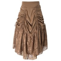 21f91fe741 Wholesale victorian skirts online - Long Skirts Women Retro Vintage Gothic  Victorian Steampunk Lace Patchwork Ruching