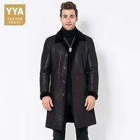 casaco de trincheira com pele de inverno venda por atacado-Itália Mens Cordeiro Fur Forro Longo Trench Único Breasted Lapel Collar Jacket Negócios Trabalho Inverno Top Quaity Couro genuíno