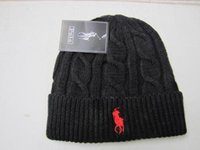 Wholesale winter hats for adults resale online - Unisex Spring Winter Hats for Men women Knitted Beanie Wool Hat Man Knit Bonnet Polo Beanie Gorros touca Thicken Warm Cap