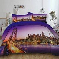 modern yataklar ücretsiz gönderim toptan satış-Ücretsiz kargo San Francisco Golden Gate Köprüsü Binalar Yatak Seti Yorgan Nevresim + Yastık Kılıfı ABD AU AB Boyutu