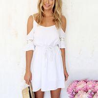 vestido de cor branca venda por atacado-Sexy Lace Chiffon Oco Out Spaghetti Strap Feminino Mini Vestido de Praia Fora Do Ombro Branco Cor Sólida Mulheres Vestido Curto