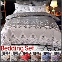 Wholesale blue double bedding sets for sale - Home Bedding Lace Duvet Set Color Single Full Queen King EU Double AU Queen EU King AU King Size Duvet Cover Pillowcase Sets