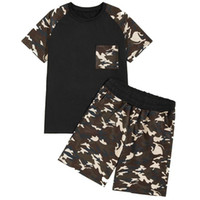 Wholesale summer track suits men resale online - Mens Track Suits Color Matching Camouflage Round Collar Breathable Quick Dry Short Sleeve Cotton Set Summer Casual