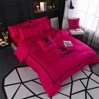 reina de cama rosa al por mayor-Rosa Rosa conjuntos de ropa de cama de las mujeres Colchas tamaño Queen con funda de almohada y bolsa de ropa de cama 4PCS Set Europa y América suministros de ropa de cama