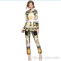 vestido de nobre ouro mulheres venda por atacado-Mulheres Retro Set vestido tradicional terno manga comprida Europeia Noble floral do ouro imprimiu a camisa + plissado saia Pant Suits Casual GGA1633