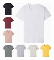 Wholesale blank pink t shirt for sale - Group buy T Shirts Men Summer Contracted Fashion High Quality White Black Pink cotton V neck Short Sleeve Blank T Shirt S XL