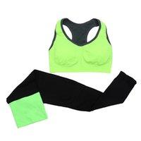 tipo leggings al por mayor-2 unidades / juegos de yoga ejercicio físico ropa deportiva mujer sujetador deportivo sin costuras + pantalones leggings tipo chaleco de secado rápido conjunto de sujetador de yoga # 40565