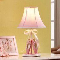 Wholesale girls princess white bedding resale online - Girls Room Toe Shoe Fabric Desk Lamp Cartoon Princess Room Pink Desk Lamps Kids Bedsides Table Light