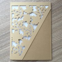 Wholesale invitations red ribbon resale online - 30Pcs Leaf Sculpture Wedding Invitation Cards Envelope Concise Ceremony Festival Gift Grand Events Christmas Gift Contains No Ribbon
