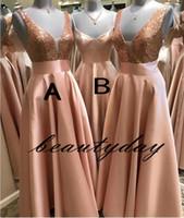 vestidos de damas de honor únicos al por mayor-Rose Gold Sequins Vestidos de dama de honor para África Diseño único 2019 Nuevo Vestido de novia de longitud completa Vestido de dama junior Vestido de dama de honor barato