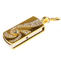 Wholesale usb stick key chain resale online - Metal Crystal Gold Stainless Steel Rotary Key Chain Fashion Usb Flash gb gb Pendrive gb Pen Drive Memory Stick U Disk