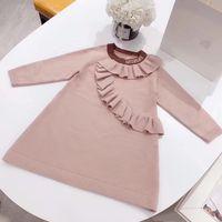 blusas de malha de lã de bebê venda por atacado-Meninas New Outono de malha de lã Camisola 2019 Inverno Bebés Meninas vestidos longos para a festa infantil Rosa camisola roupa