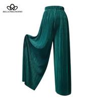 seda de mujer alta al por mayor-2019 verano pantalones plisados pantalones de mujer color seda brillante gasa cintura alta plisada pierna ancha gasa pantalones de ocio