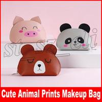 ingrosso casi di matita animale-Animal Prints Makeup Bag Cosmetic Bags Storage Cases Impermeabile Zipper PU Sacchetto della matita Maiale Organizzatore di trucco dell'orso
