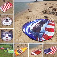 plaj mat halı toptan satış-Amerikan bayrağı plaj mat Moda düzensiz şekil plaj havlusu meyve şekli yuvarlak battaniye açık Yumuşak Halı çocuk oyun mat TTA872