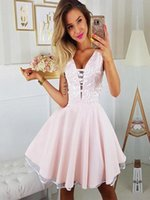 Wholesale hot sale gold dress short for sale - 2019 Elegant Pink Short Cocktail Dresses Lace Appliques A Line For Homecoming Party Wear Custom Made Hot Sale