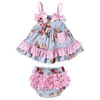 kleid blüten großhandel-Neugeborenes Baby Mädchen Tops Kleid Set gekräuselte Pumphose Windel Baby Pumphose Kleid kurze Kleidung