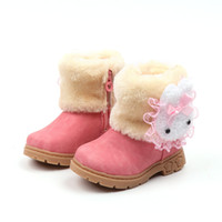 Wholesale kids cartoons snow boots resale online - Winter Girls Boots Warm Cotton With Cartoon Rabbit Lace Kids Boots Fashion Snow Boots Children Winter Shoes Toddler Girl