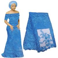 3d fransız toptan satış-Son Fransız 3D Dantel Kumaş Düğün Parti Çiçek Nakış Için Afrika Vual Dantel Malzemeleri Nijeryalı Dantel Elbise Kumaş BF0005
