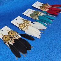 ingrosso orecchini fatti a mano-Handmade etnici bohemien lunga piuma nappa orecchini firmati vintage donne bohemien catena d'oro gioielli lunga catena nappa orecchini di lusso