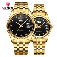 vestidos casuales de negocios para mujeres. al por mayor-Relojes de lujo en oro, acero, pareja Relojes de cuarzo de los amantes de la marca CHENXI Relojes de vestir de negocios de Sytlish Rhinestone Amante a prueba de agua
