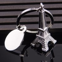 brindes promocionais jóias venda por atacado-Porta-chaves da torre de Paris Chaveiro da jóia da forma para presentes relativos à promoção da aviação Chaveiro criativo do plano do metal de Paris