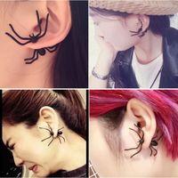 boucles d'oreilles du soir noir achat en gros de-New Punk Black Spider Charme Ear Stud Femmes Halloween Party Soirée Cadeau Boucles D'oreilles Pour les dames Bijoux De Mode