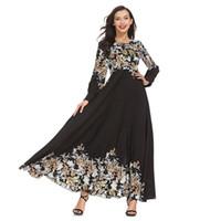 senhoras muçulmanas venda por atacado-New Elegant Adulto Mulheres Muçulmanas Magro Rosa Vestido Médio Oriente Abaya Dubai Kaftan Senhora Islâmica Digital Impresso Vestidos Longos Roupas