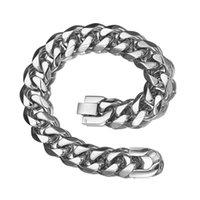 neues jungen silber armband großhandel-15mm 7-11inch Charming Cuban Kettenarmband-Silber-Edelstahl LuxuxMens Jungen Neu Atmospheric Armband Armband Schmuck