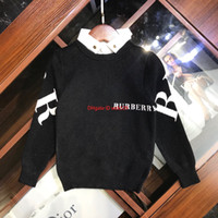 männliche kind mode großhandel-Herbstkinderstrickjacke scherzt Designermode-Charmepullover des männlichen Mädchens der Designerkleidung gefälschten zweiteiligen