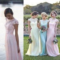 plajda düğün için genç süslü elbiseler toptan satış-Ucuz Dantel Tül Uzun Nedime Elbiseler Cap Sleeve A Hattı Plaj Onur Hizmetçi Törenlerinde Ülke Genç Nedime Düğün Balo Parti Elbise