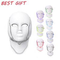 ingrosso maschera di bellezza per il viso-Maschera facciale del LED della macchina di bellezza del viso di terapia della luce di PDT 7 LED con microcorrente per il dispositivo di sbiancamento della pelle (spedizione libera)