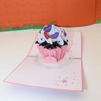 origami 3d pop up presente venda por atacado-3D Pop Up Origami Aniversário Bolo Design Cartões de Convite Cartão de Presente de Aniversário Kirigami Frete Grátis