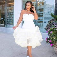пушистые платья выпускного вечера оптовых-Prom Dress Sexy Party Evening Dresses Low-Cut Blouses Breast-wiping pure-color fishtail fluffy skirt for women Balls Outfit
