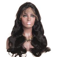 Wholesale black long wavy human hair for sale - Group buy Virgin Brazilian Body Wave Hair Full Lace Wigs B Human Hair Glueless Full Lace Wig Soft Wavy Wigs quot quot