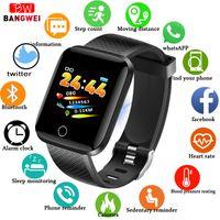 akıllı dokunmatik ledli saat toptan satış-BANGWEI Spor Akıllı Izle Spor Izci Pedometre Kalp Hızı Monitörü Kan Basıncı Oksijen LED Renk Dokunmatik Ekran Smartwatch