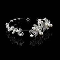 Wholesale lace flowers tiaras resale online - 2018 New Bridal Hair Accessories Luxurious Crystal Pearl Lace Flower Headbands Party Bridal Tiara Headwear Brand For wedding